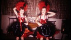 2261 - young girls dance the CanCan at home - vintage film home movie Stock Footage
