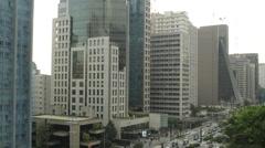 View of skyscraper at Paulista Avenue Stock Footage