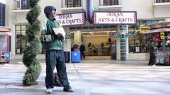 Homeless man on Fremont Street Las Vegas asking for help 4k Stock Footage