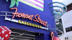 Fremont Street Experience sign in downtown Las Vegas 4k Stock Footage