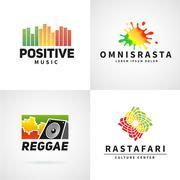 Set of positive africa ephiopia flag logo design. Jamaica reggae dance music - stock illustration