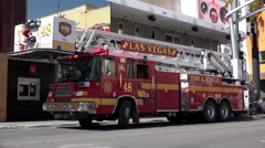 Las Vegas Fire and Rescue truck in downtown Fremont 4k - stock footage