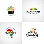 Set of african rastafari sound vector logo designs. Jamaica reggae music - stock illustration