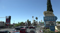 Gateway Motel at downtown Las Vegas intersection 4k Stock Footage