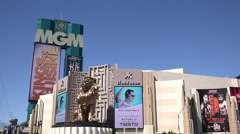 MGM Hotel and Casino building in Las Vegas 4k Stock Footage