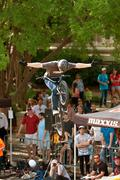 Pro Rider Lets Go Of Handlebars In BMX Bike Competition Stock Photos