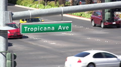 Tropicana Avenue with traffic going by in Las Vegas 4k Stock Footage