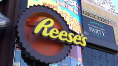 Reeses sign at Hershey Choclage World Las Vegas 4k Stock Footage