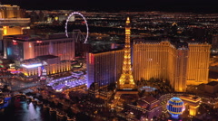 Eiffel tower and High Roller seen on Vegas strip 4k Stock Footage