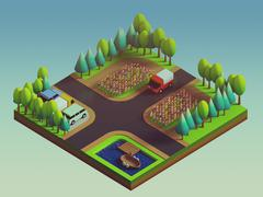 Green earth concept in isometric view Piirros