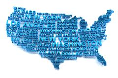 USA map formed by names of major cities - stock illustration