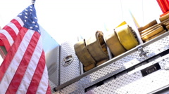 Firetruck with American Flag on back 4k Stock Footage