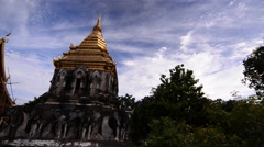 Wat Chiang Man with Stucco sculpture elephant pagoda, Chiang Mai, Thailand. Stock Footage