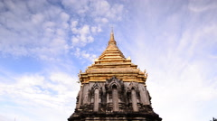 Wat Chiang Man with Stucco sculpture elephant pagoda, Chiang Mai, Thailand. - stock footage