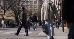 People walking down the street April 27 in the center of Cordoba, Argentina Stock Footage