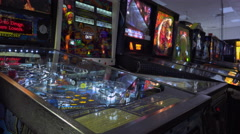 Pinball machines at arcade in a row 4k Stock Footage