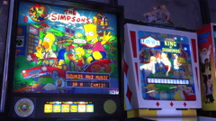The Simpsons classical arcade pinball machine 4k Stock Footage