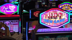Hot New game sign at Casino slot machine 4k - stock footage