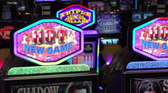 Slot machines on casino floor 4k - stock footage