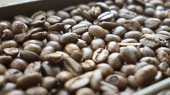 Coffee beans close up - rack focus Stock Footage