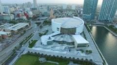 Aerial Downtown Miami AA Arena  4k 4 Stock Footage