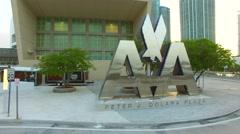 Aerial Downtown Miami AA Arena  4k 5 Stock Footage