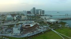Aerial Downtown Miami construction 4k Stock Footage