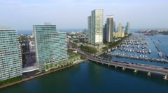 Aerial video Miami Beach marina and waverunners Stock Footage