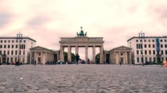 Brandenburger Tor at Berlin in vintage style with time-lapse Stock Footage