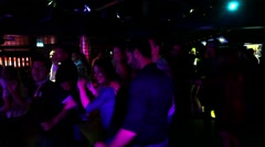 Disco dancing party at the nightclub with the Disk Jockey Stock Footage