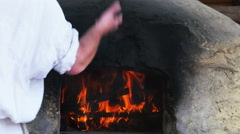 3875 Clay Oven with Fire on the Inside, 4K Stock Footage
