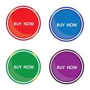 Four colored circular icons buy now - stock illustration