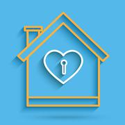 Line art house of love and key on blue screen - stock illustration