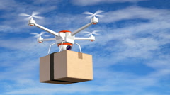 Quadrocopter with cardboard package, 3d animation Stock Footage