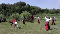 Performance Of Ukrainian Cossacks And Fighting Hopak Stock Footage