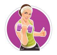 Stock Illustration of Girl with dumbbells for fitness
