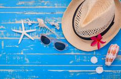 Summer setting up on wooden panel for summer blackground. - stock photo