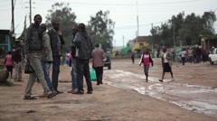 Young African working men in Maralal town, Samburu, Kenya Stock Footage