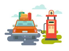 Refuel Car at Gas Station Stock Illustration