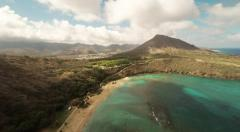 Aerial Shoot Huilua Pond on Kahana Bay Beach Park. Honolulu. Hawaii. - stock footage