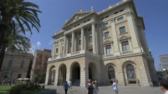 The Ministery Government (Gobierno Militar) building in Barcelona Stock Footage