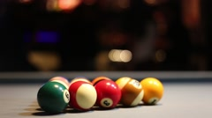 Playing Eight-ball pool billiards in a bar Stock Footage
