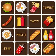 collection of meal and snack and seasoning - stock illustration