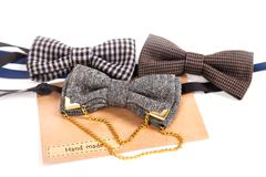 Vintage bow-ties isolated on white. Some of these have aged a little bit - Stock Photos
