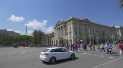 Crossing the street to the Military Government building in Barcelona Stock Footage