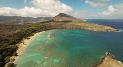 Aerial Shoot Huilua Pond on Kahana Bay Beach Park. Honolulu. Hawaii. Stock Footage