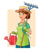 Stock Illustration of Gardener girl with rake and watering can