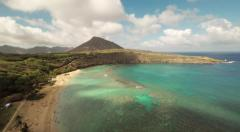 Aerial Shoot Huilua Pond on Kahana Bay Beach Park. Honolulu. Hawaii. Stock Footage