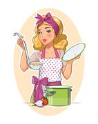 Stock Illustration of Housewife girl cooking food