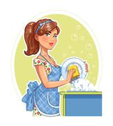 Beautiful girl washing plate. - stock illustration